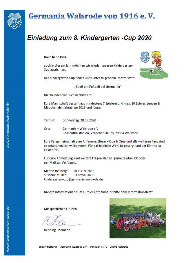 Anschreiben Kindergarten-Cup 2020