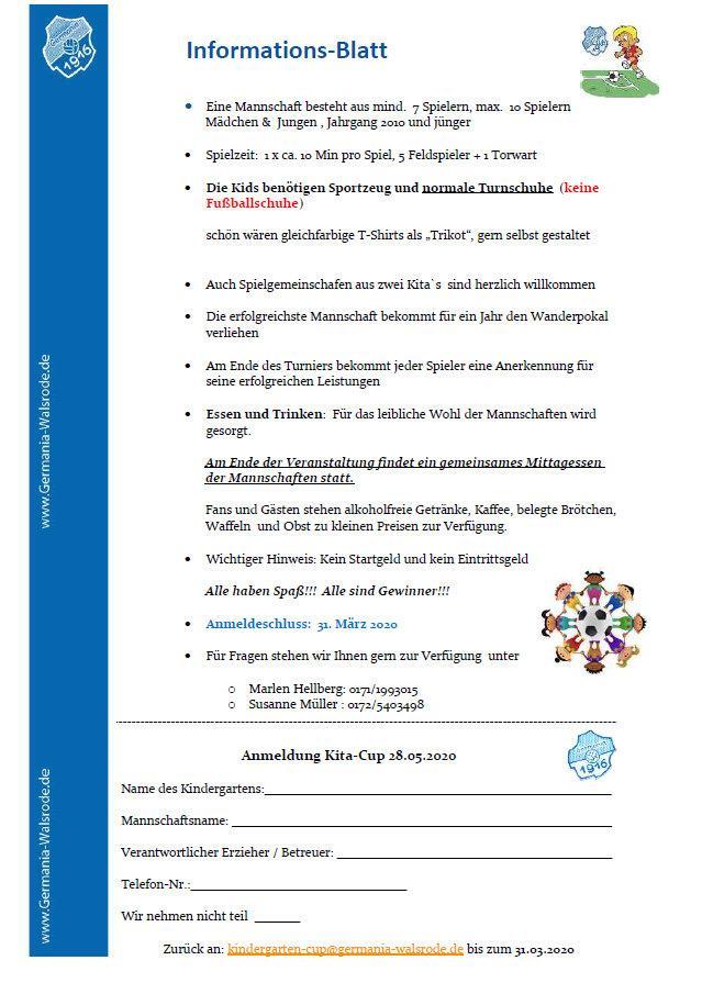 Anmeldung / Info Kindergarten-Cup 2020