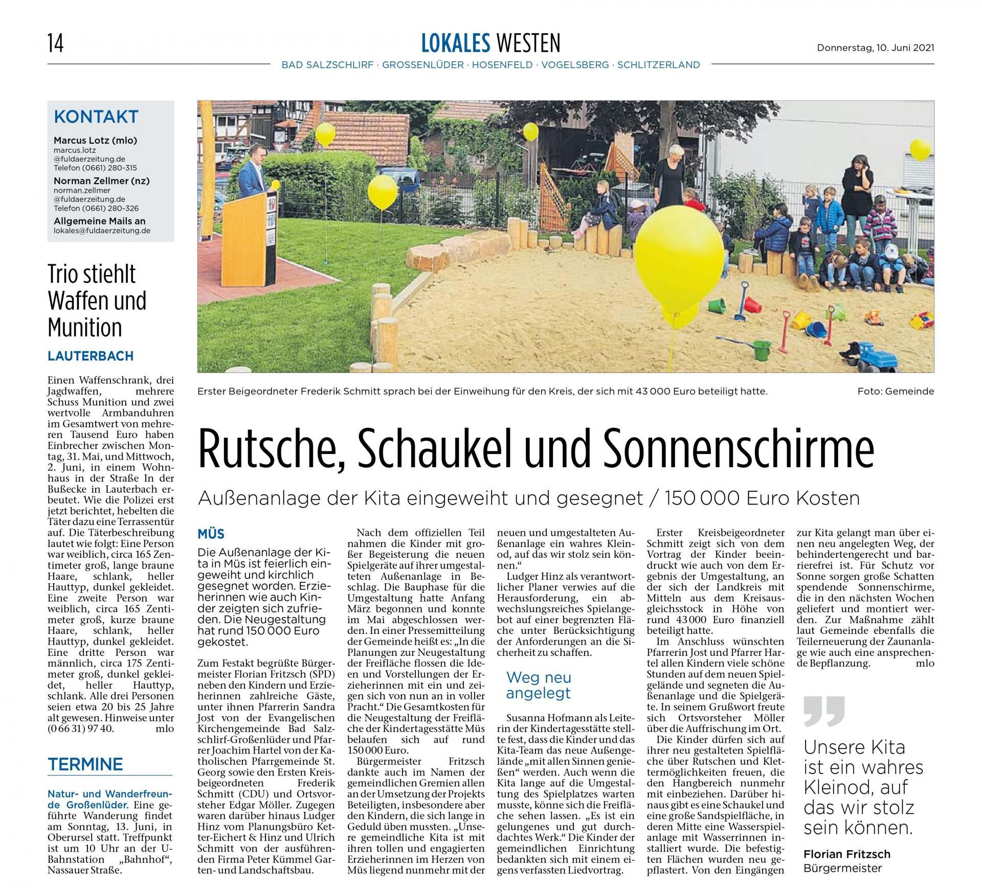 Artikel Fuldaer Zeitung