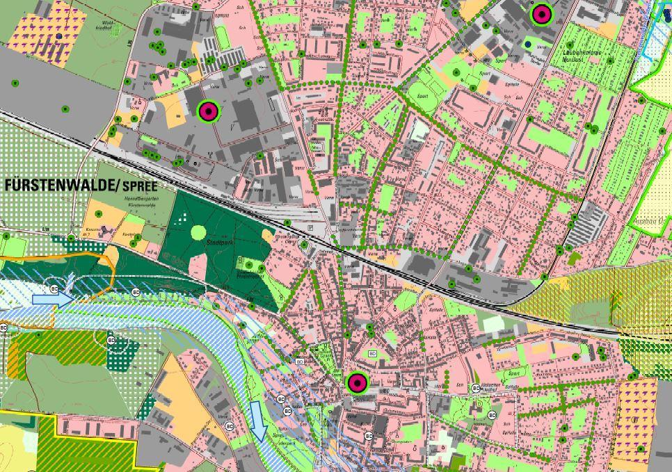 """Landschaftsplan 2020, Ausschnitt """"Innenstadt"""" Entwicklungskonzept, Stadt Fürstenwalde/Spree (Darstellung: Fugmann Janotta und Partner)"""