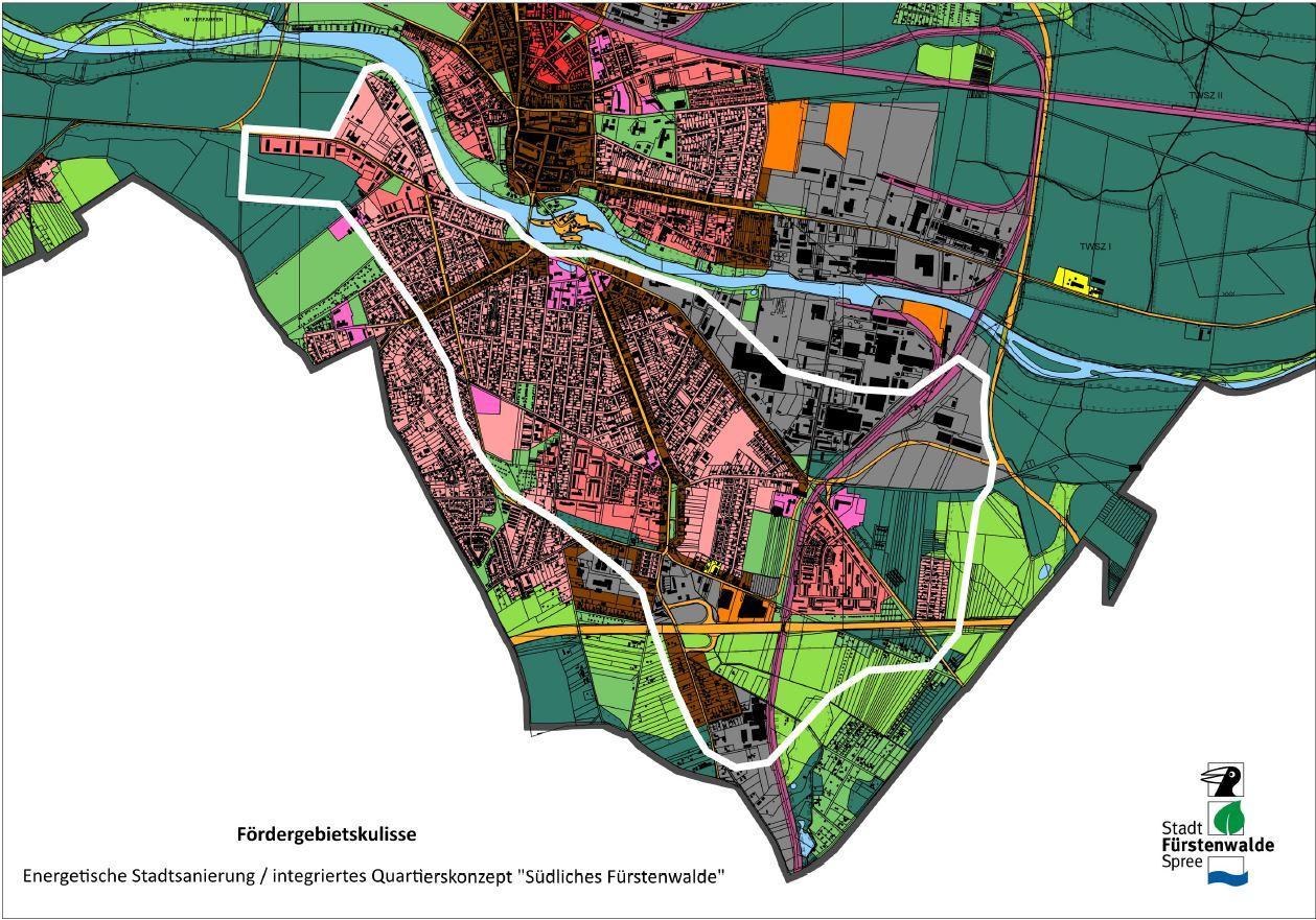 """Das Bild zeigt auf dem Flächennutzungsplan den Umriss des Untersuchungsgebietes für ein Energetisches Sanierungskonzept """"Südliches Fürstenwalde"""", wie es im Dezember 2019 von den Stadtverordneten beschlossen wurde."""