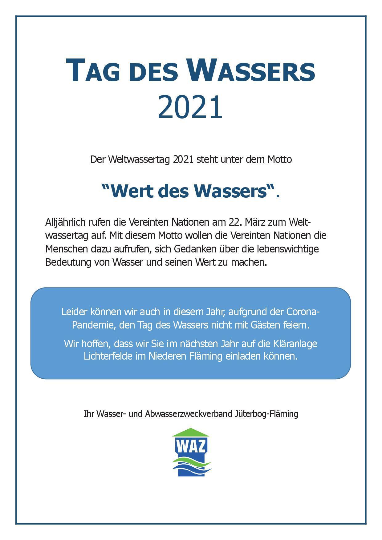 Tag des Wassers 2021