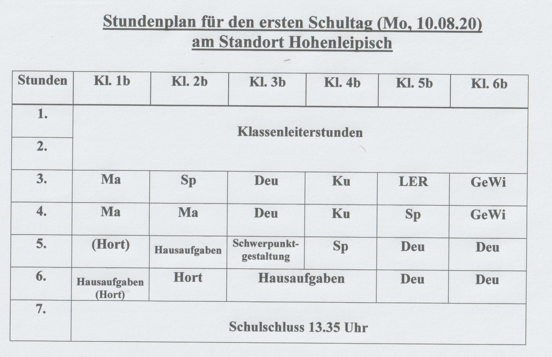 Stundenplan Hohenleipisch