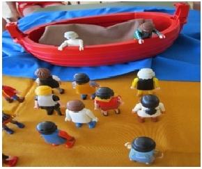 Jesus redet vom Boot aus