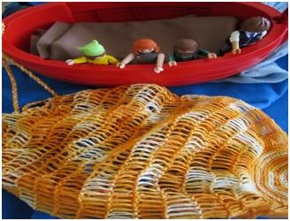 Die Jünger werfen Netze aus, um Fische zu fangen
