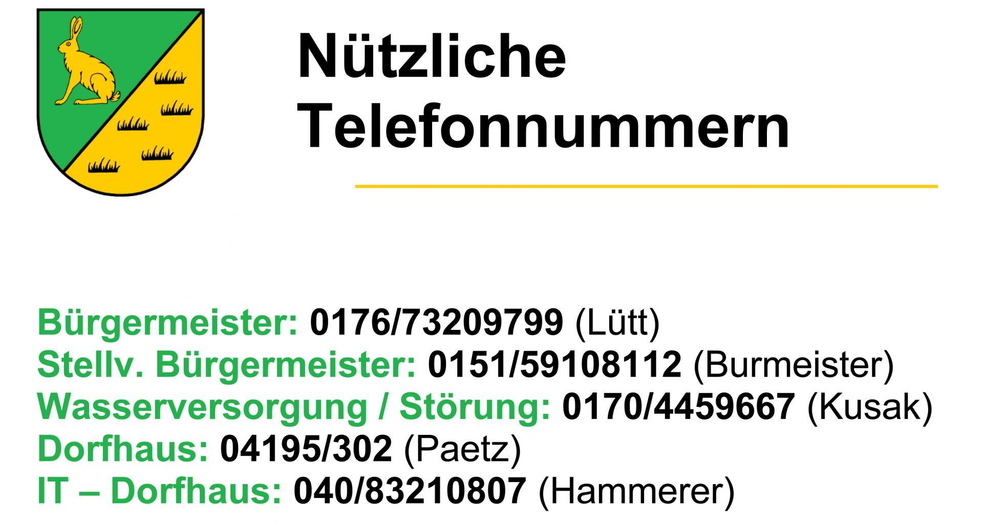 Nützliche Telefonnummern