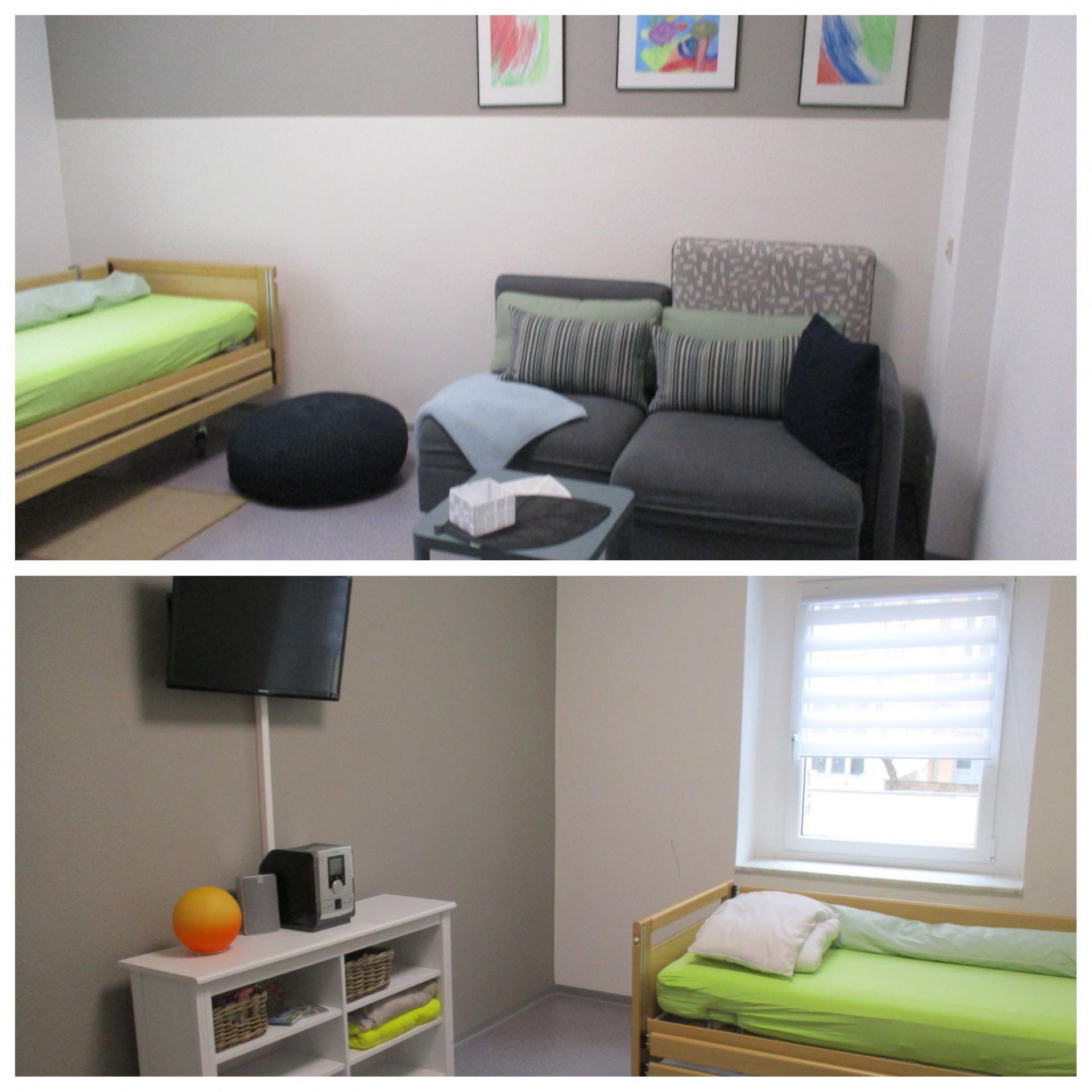 Wohnbereich mit Pflegebett