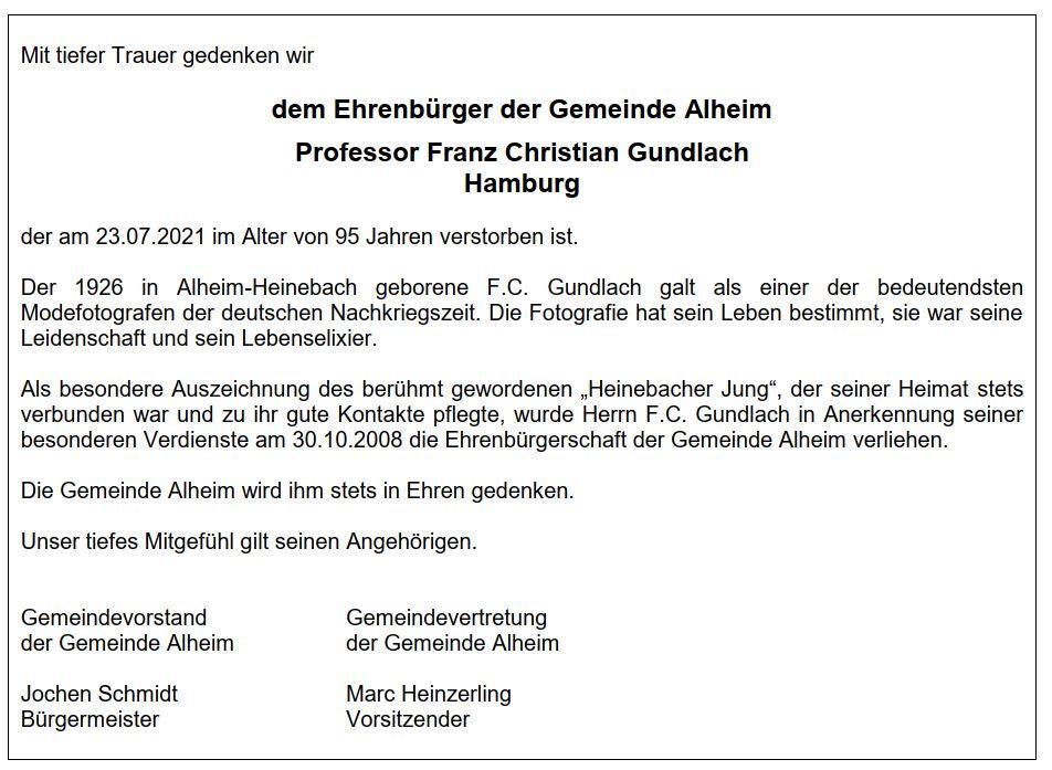 Nachruf F.C. Gundlach