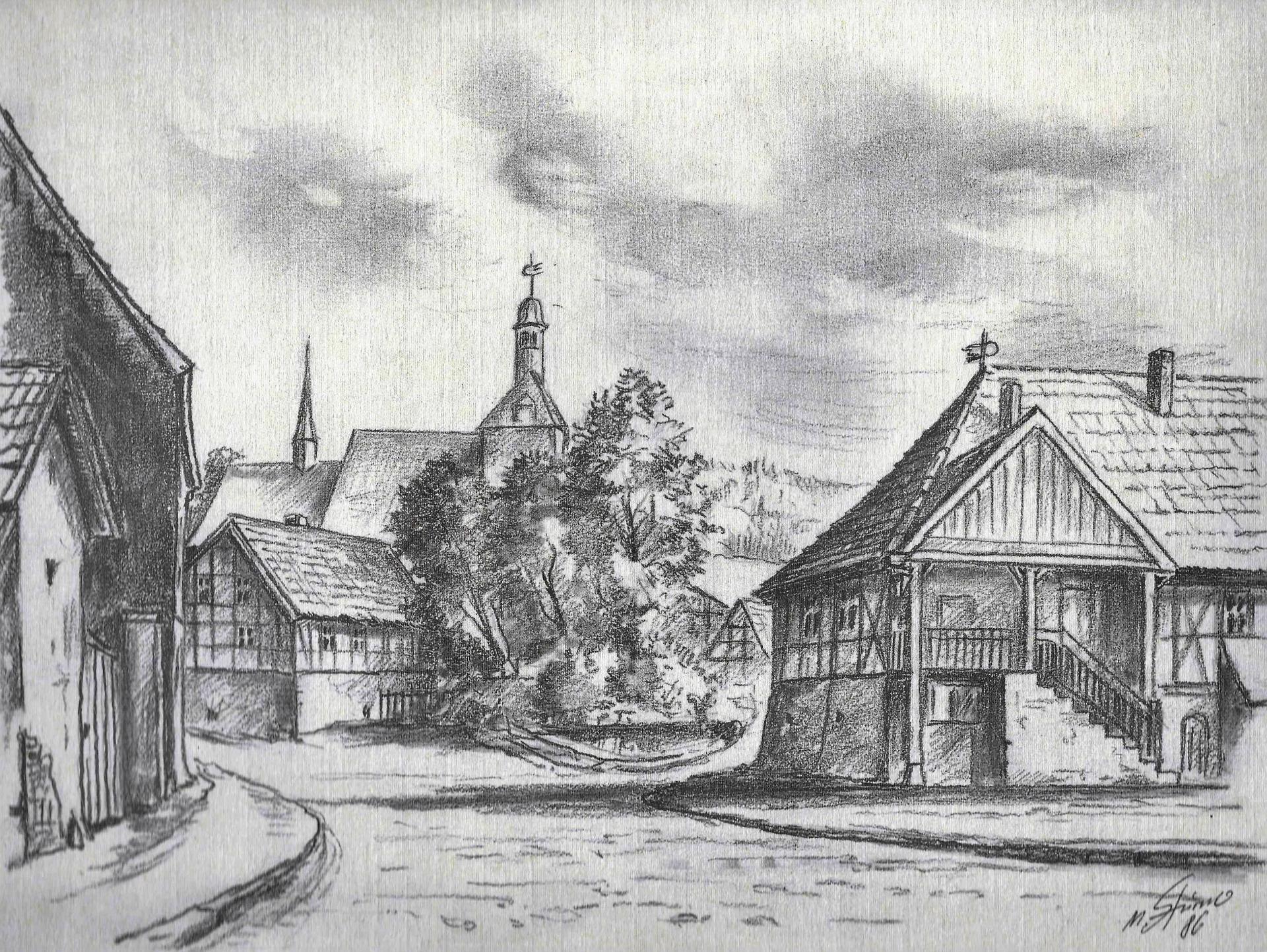 Rathaus und Kirche als ältestes Gebäude von Rieder 1.0
