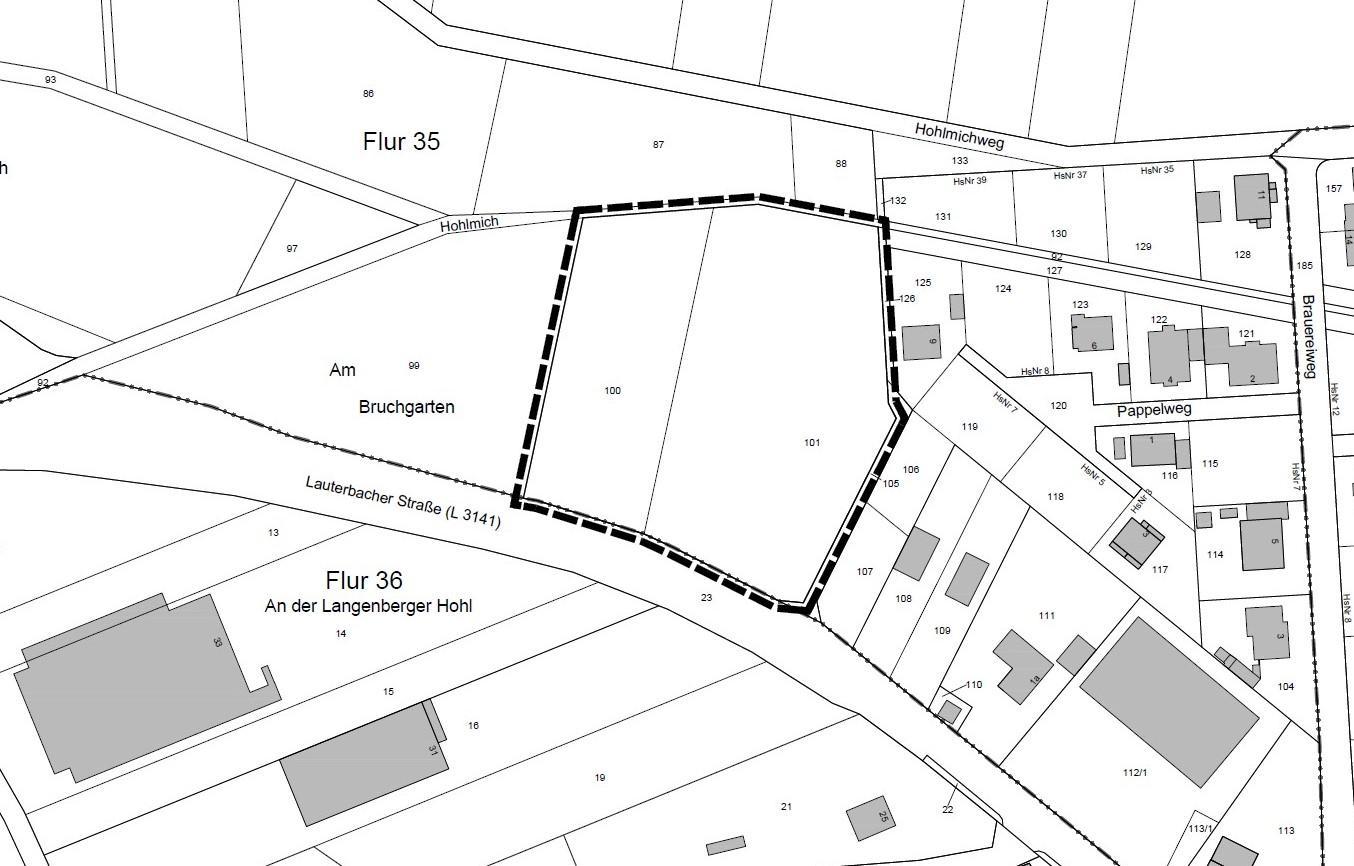 Geltungsbereich B-Plan 35 - Am Bruchgarten / Nördl. Lauterbacher Straße
