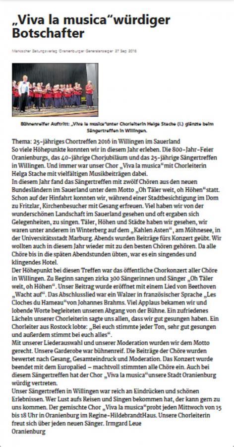 Zeitungsartikel Chortreffen Willingen 2016