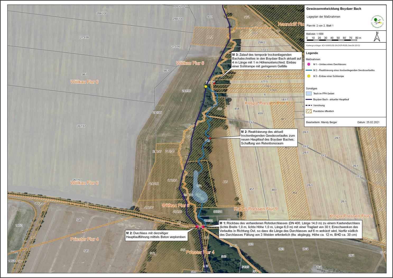 Gewässerentwicklung Boydaer Bach - Lageplan der Maßnahmen