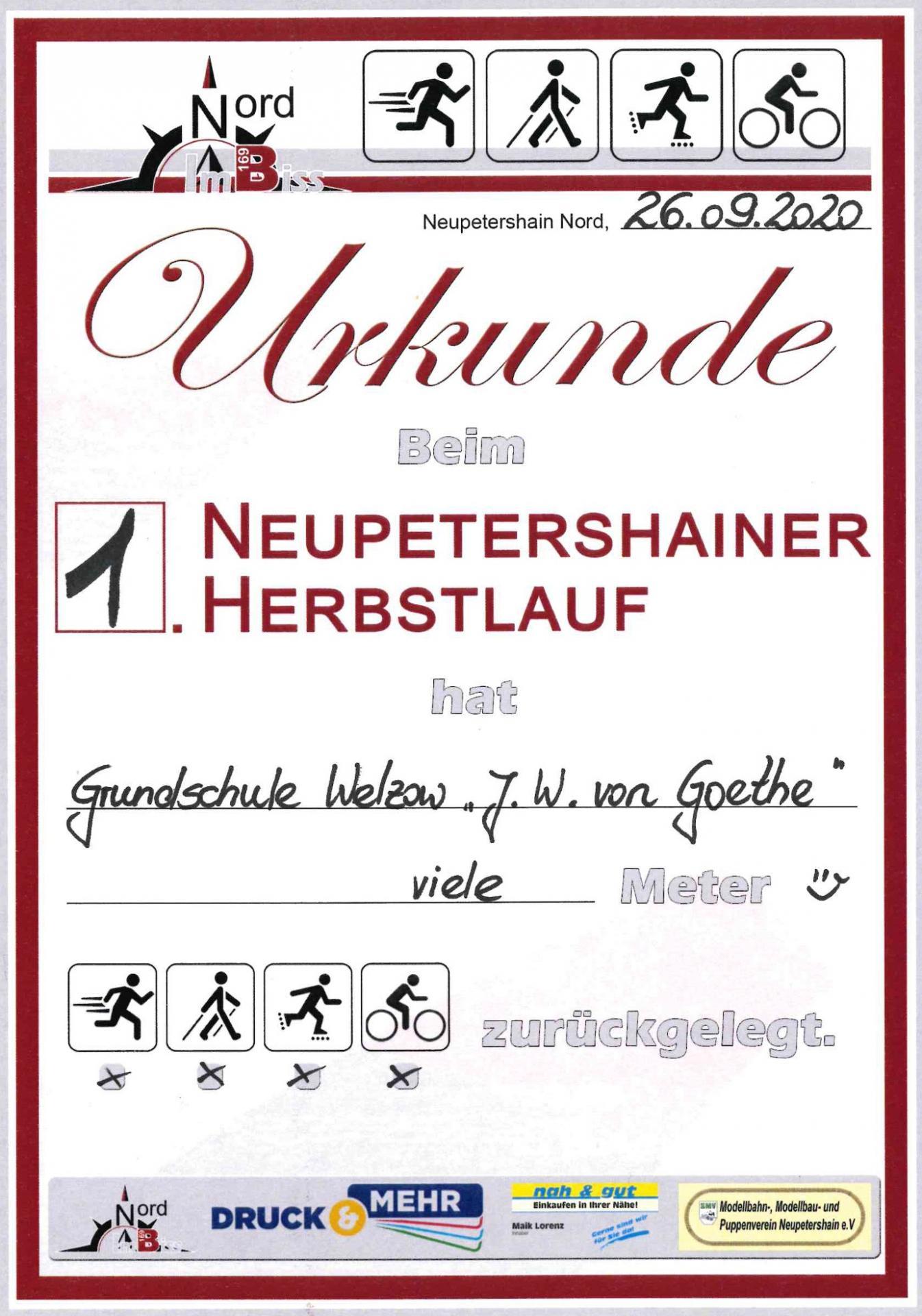 Urkunde 1. Neupetershainer Herbstlauf
