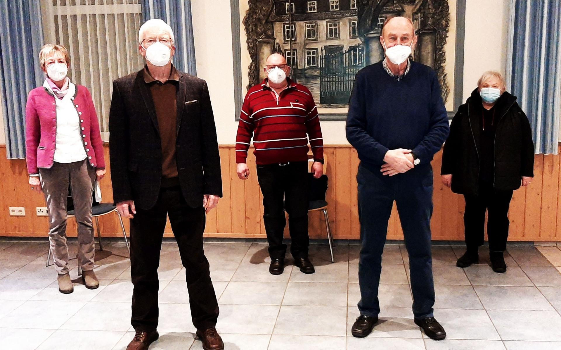 Vorstand 2021: E. Sievert, L. Mickisch, H-J Peters, Dr. U. Petersen, K. Woyke