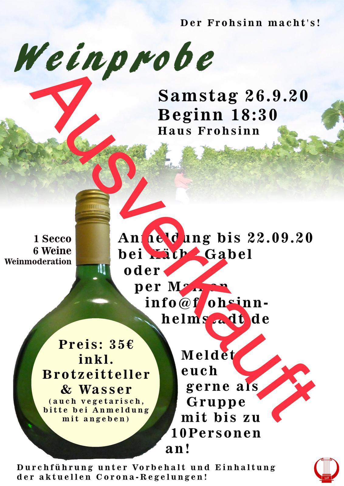 Weinprobe Ausverkauft