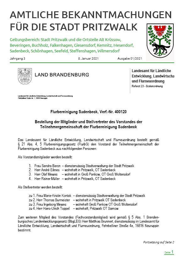 Bekanntmachungen 1-2021