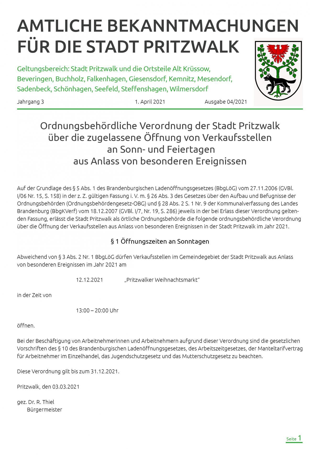 Bekanntmachung 4-2021-Tiel