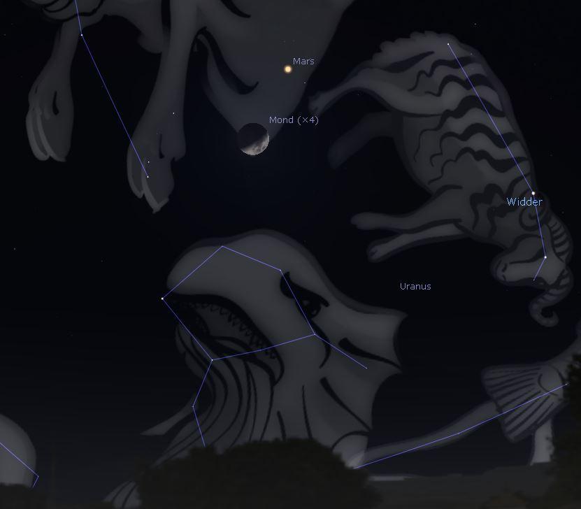 Mond und Mars am 18022021