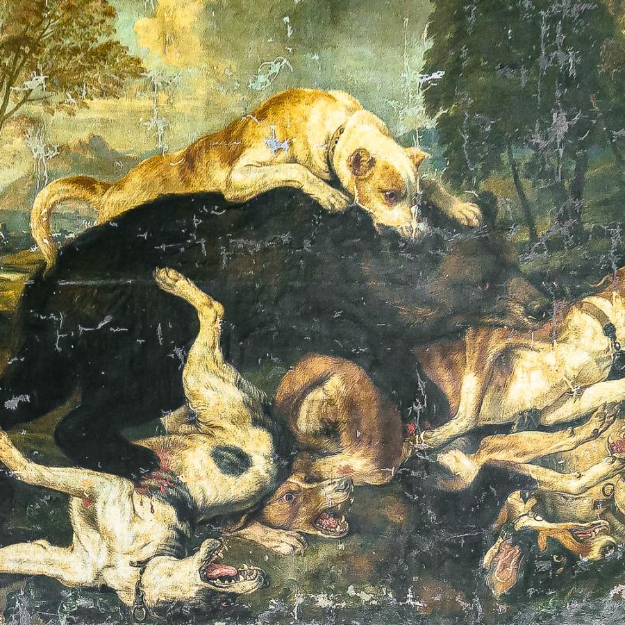 Bärenjagd, Barockgemälde um 1760 Foto- Museum OSL