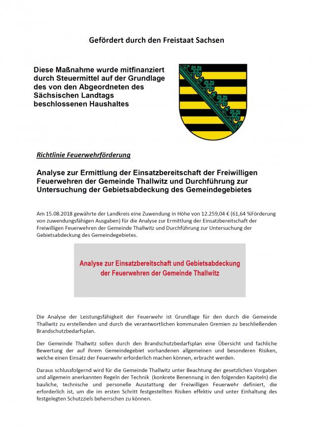 Analyse zur Ermittlung der Einsatzbereitschaft der Freiwilligen Feuerwehren der Gemeinde Thallwitz