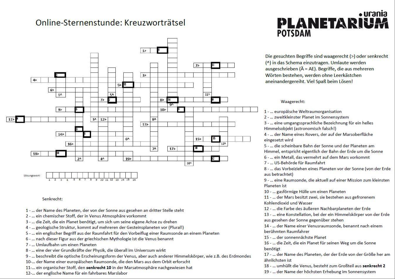 Kreuzworträtsel Gesteinsplaneten Vorschaubild