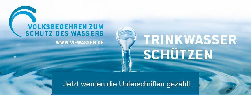 Volksbegehren zum Schutz des Wassers Transparent