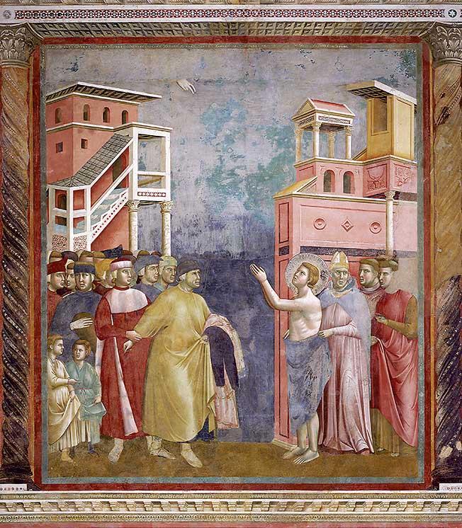 Franz von Assisi verzichtet auf die irdischen Güter