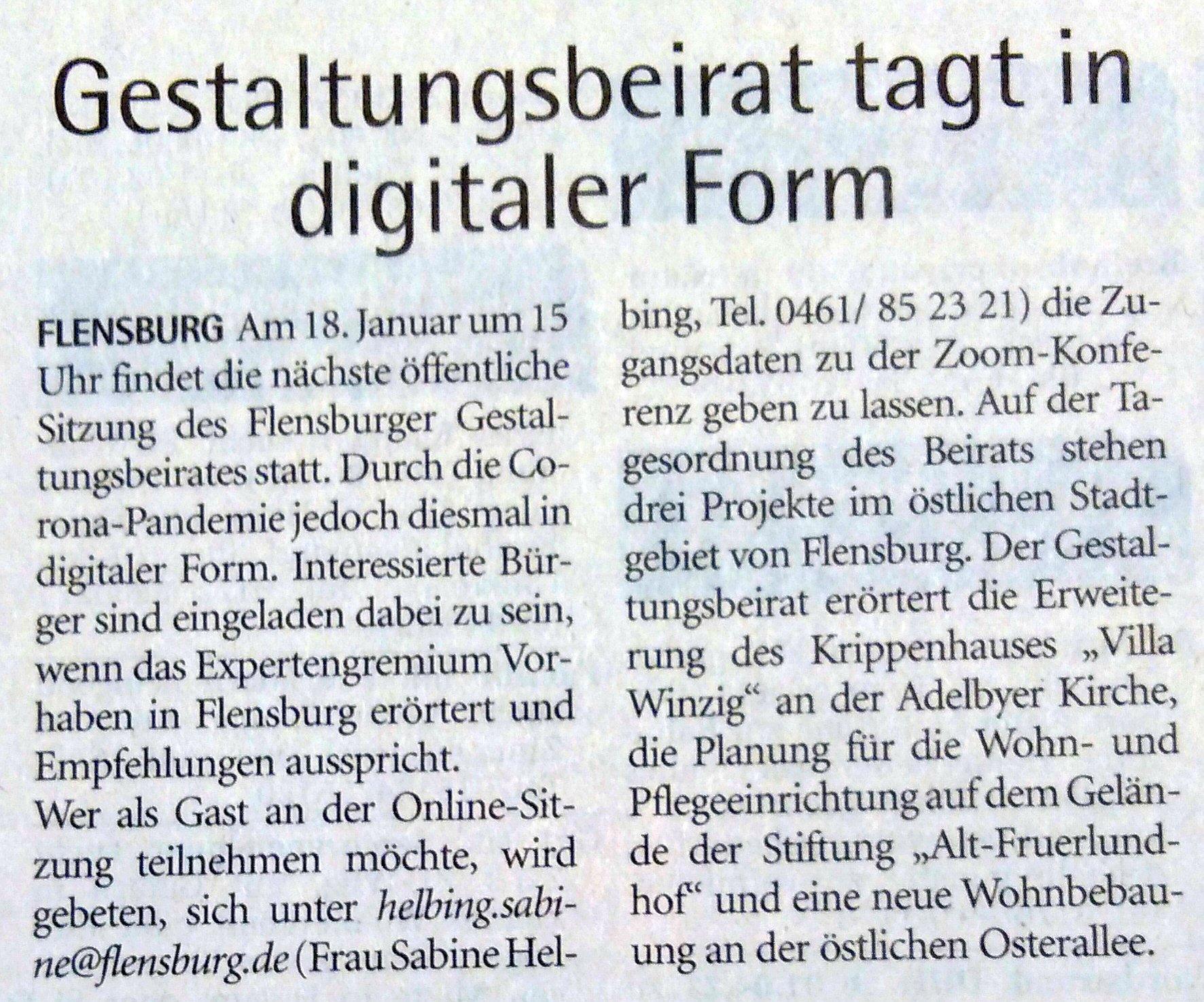 Artikel Wochenschau 17.01.2021 - Gestaltungsbeirat tagt in digitaler Form