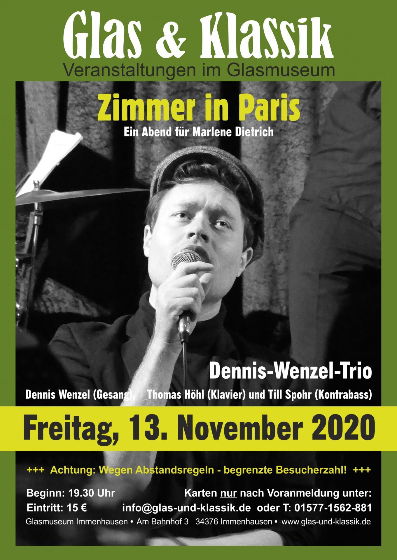 """Plakat: """"Ein Zimmer in Paris"""" - Ein Abend für Marlene Dietrich"""