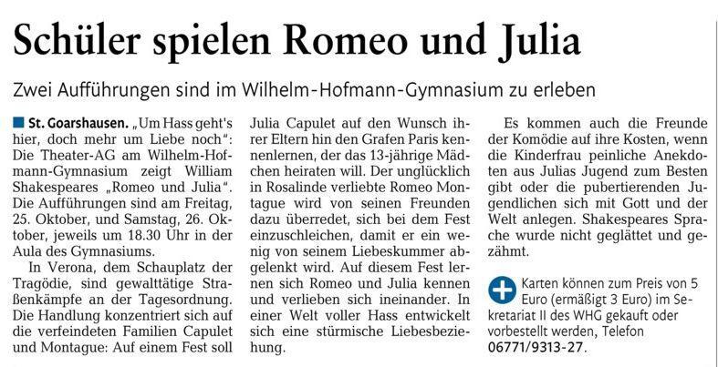"""Erste Ankündigung Theateraufführungen """"Romeo und Julia"""""""