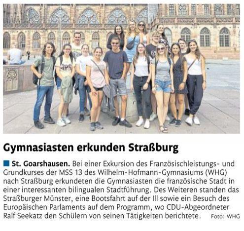 Straßburg-Exkursion Französisch-Kurse MSS 13