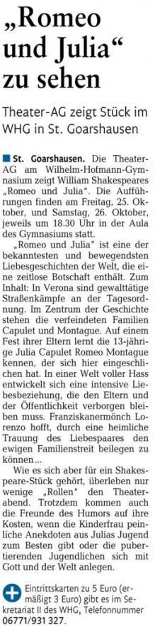 """Zweite Ankündigung Theateraufführungen """"Romeo und Julia"""""""