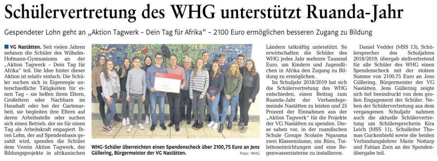 Spendenübergabe Ruanda-Jahr Verbandsgemeinde Nastätten