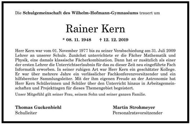Nachruf Rainer Kern