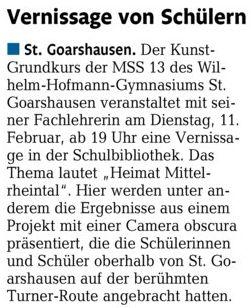 """Ankündigung Vernissage """"Heimat Mittelrheintal"""" 11.02.20"""