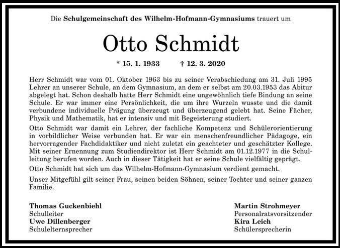 Nachruf Otto Schmidt