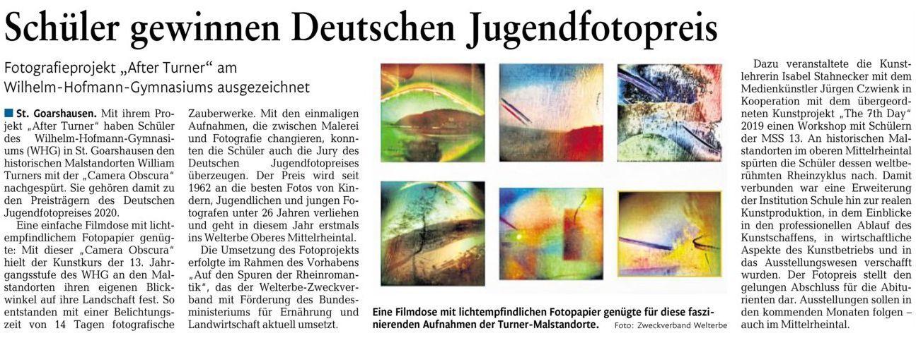 Kunst-Grundkurs der MSS 13 gewinnt Deutschen Jugendfotopreis 2020
