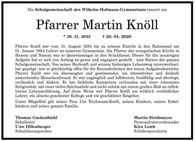 Nachruf Martin Knöll