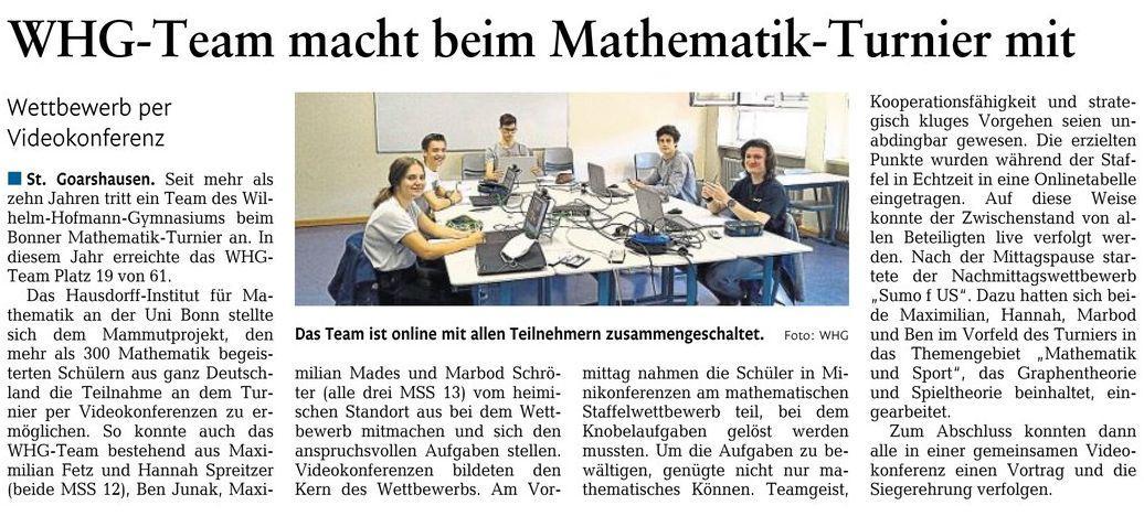 Bonner Mathematikturnier 2020