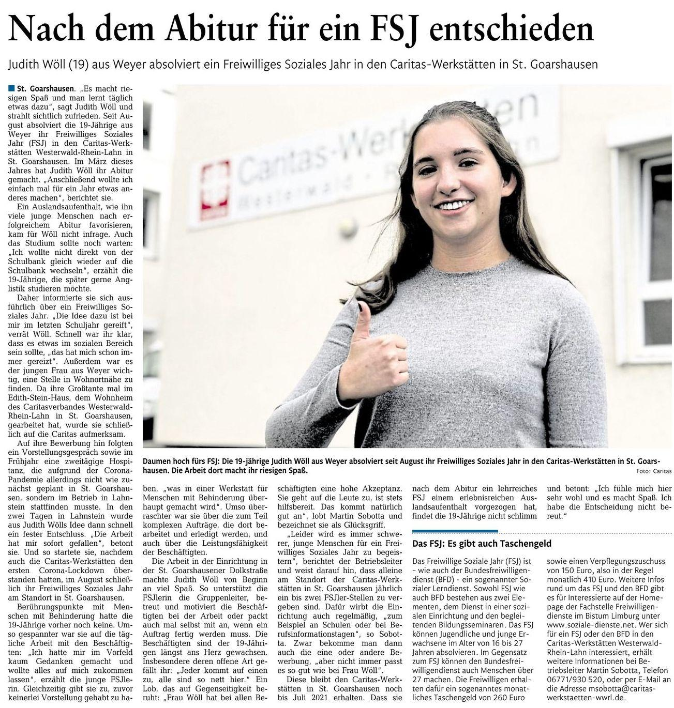 Judith Wöll-FSJ in den Caritas-Werkstätten in St. Goarshausen