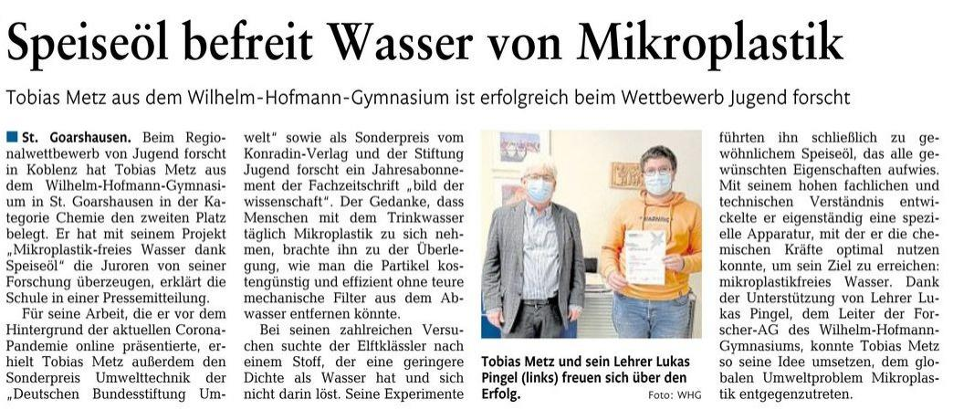 Tobias Metz (MSS 11) bei Jugend forscht erfolgreich