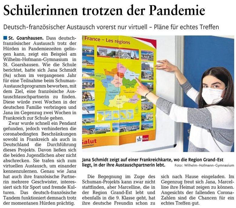 Virtueller Schüleraustausch-Schülerinnen trotzen der Pandemie