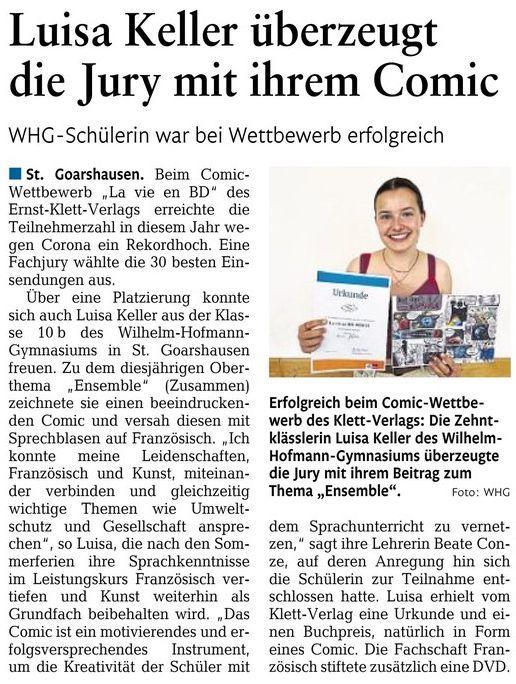 Luisa Keller (10b) beim Comic-Wettbewerb erfolgreich