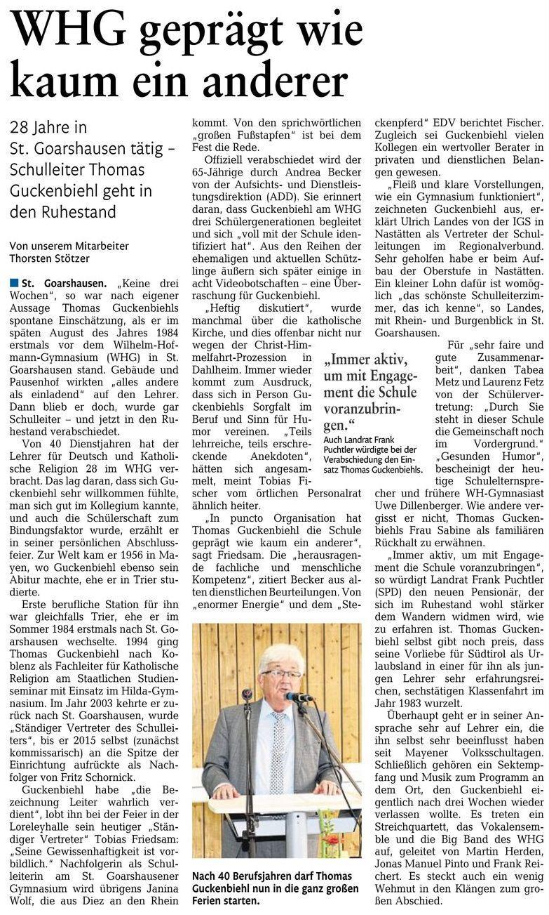 Verabschiedung Schulleiter Thomas Guckenbiehl-Bericht