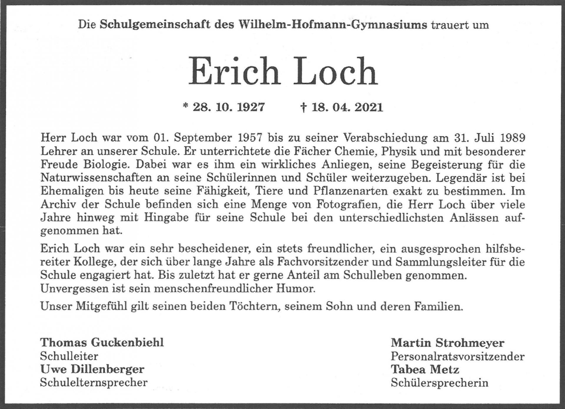 Nachruf Erich Loch