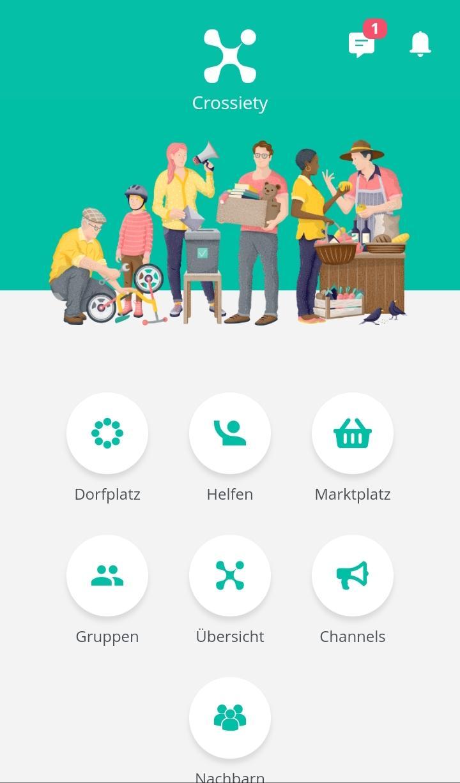 Crossiety App Ansicht