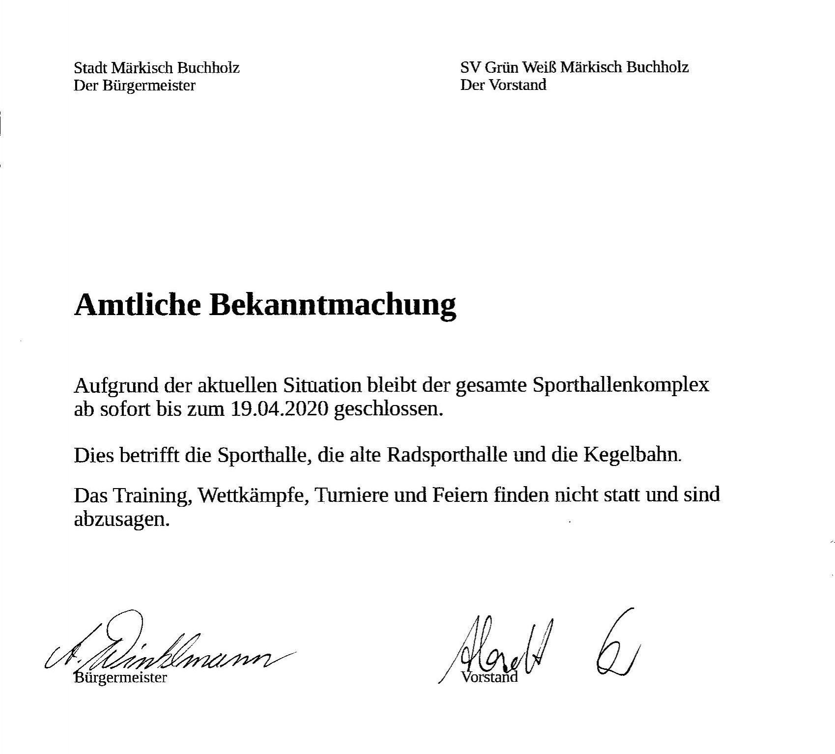 Amtliche Bekanntmachung vom 14.03.2020