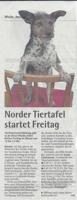 Norder Tiertafel startet Freitag