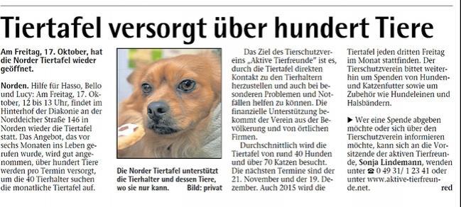 TierTafel versorgt über 100 Tiere