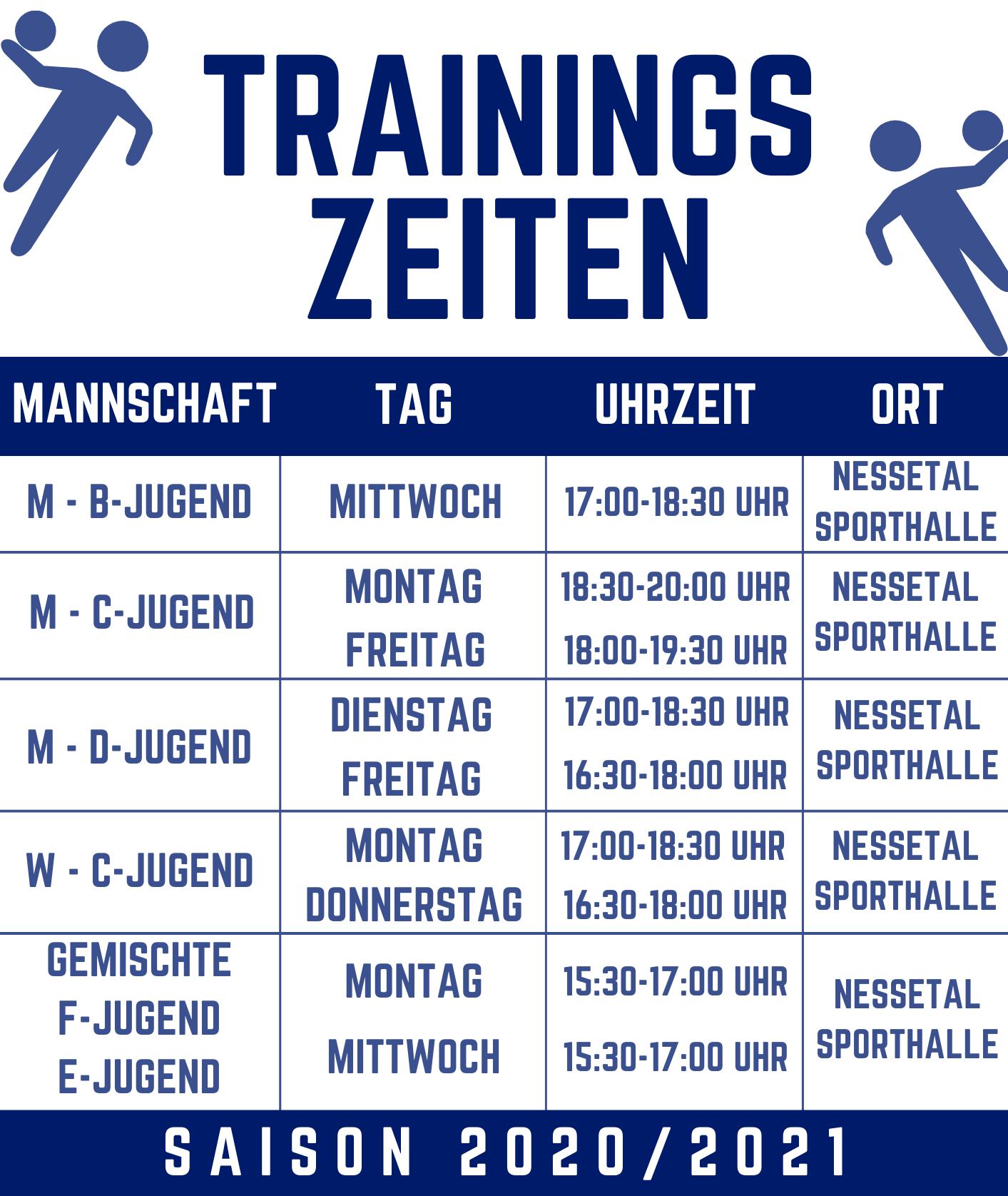 Trainingszeiten Jugend